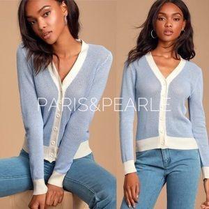 Meriwether Light Blue Loose Knit Cardigan Sweater
